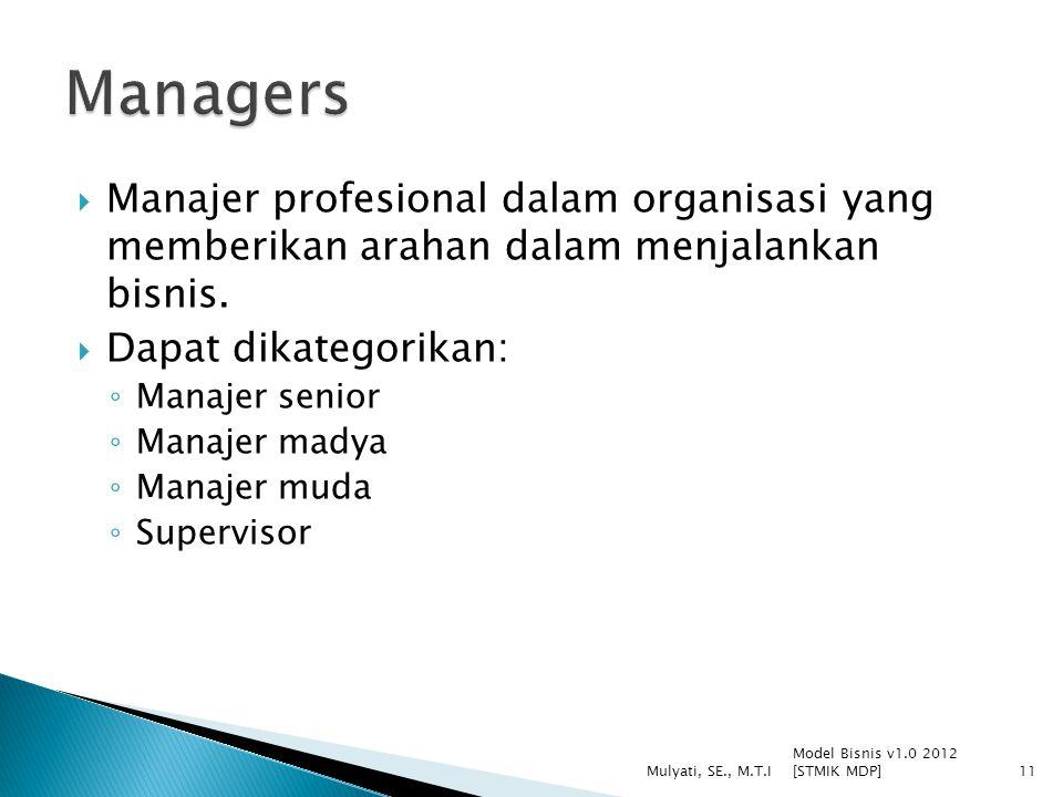  Manajer profesional dalam organisasi yang memberikan arahan dalam menjalankan bisnis.