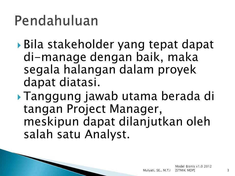  Bila stakeholder yang tepat dapat di-manage dengan baik, maka segala halangan dalam proyek dapat diatasi.