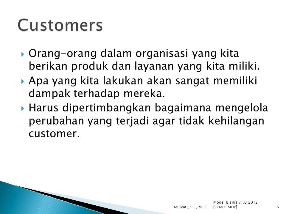  Orang-orang dalam organisasi yang kita berikan produk dan layanan yang kita miliki.