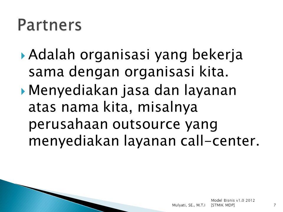  Adalah organisasi yang bekerja sama dengan organisasi kita.