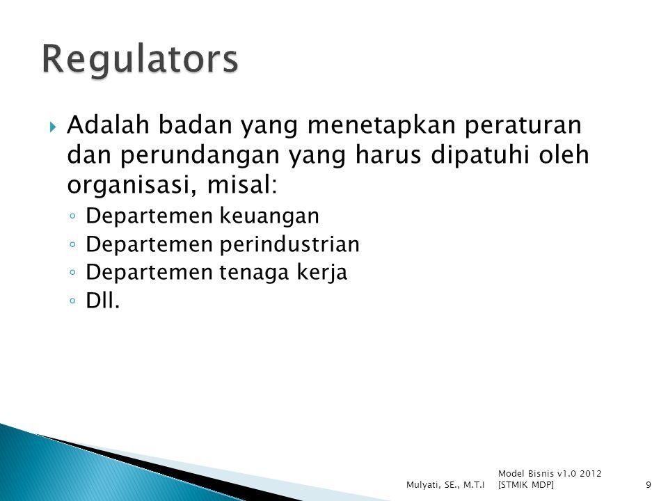  Adalah badan yang menetapkan peraturan dan perundangan yang harus dipatuhi oleh organisasi, misal: ◦ Departemen keuangan ◦ Departemen perindustrian ◦ Departemen tenaga kerja ◦ Dll.