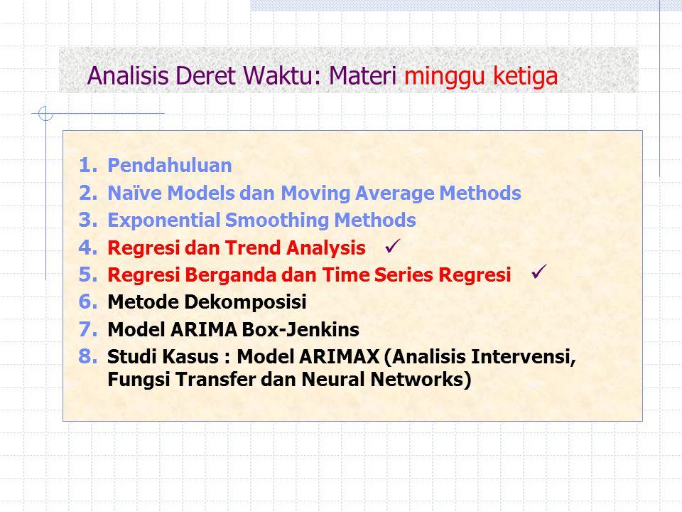 Analisis Deret Waktu: Materi minggu ketiga 1. Pendahuluan 2. Naïve Models dan Moving Average Methods 3. Exponential Smoothing Methods 4. Regresi dan T
