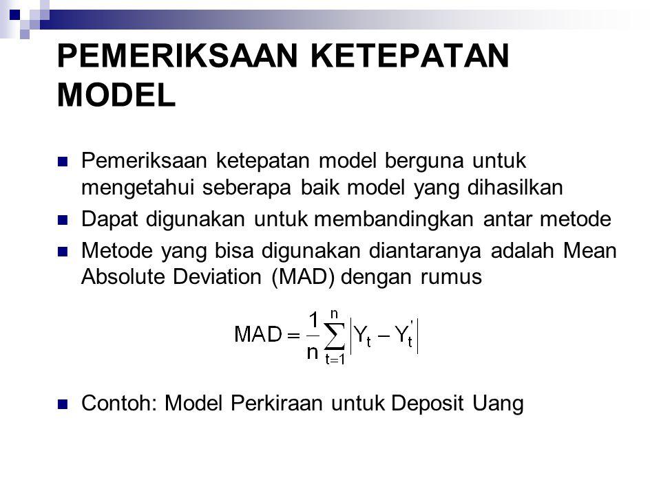 PEMERIKSAAN KETEPATAN MODEL Pemeriksaan ketepatan model berguna untuk mengetahui seberapa baik model yang dihasilkan Dapat digunakan untuk membandingk