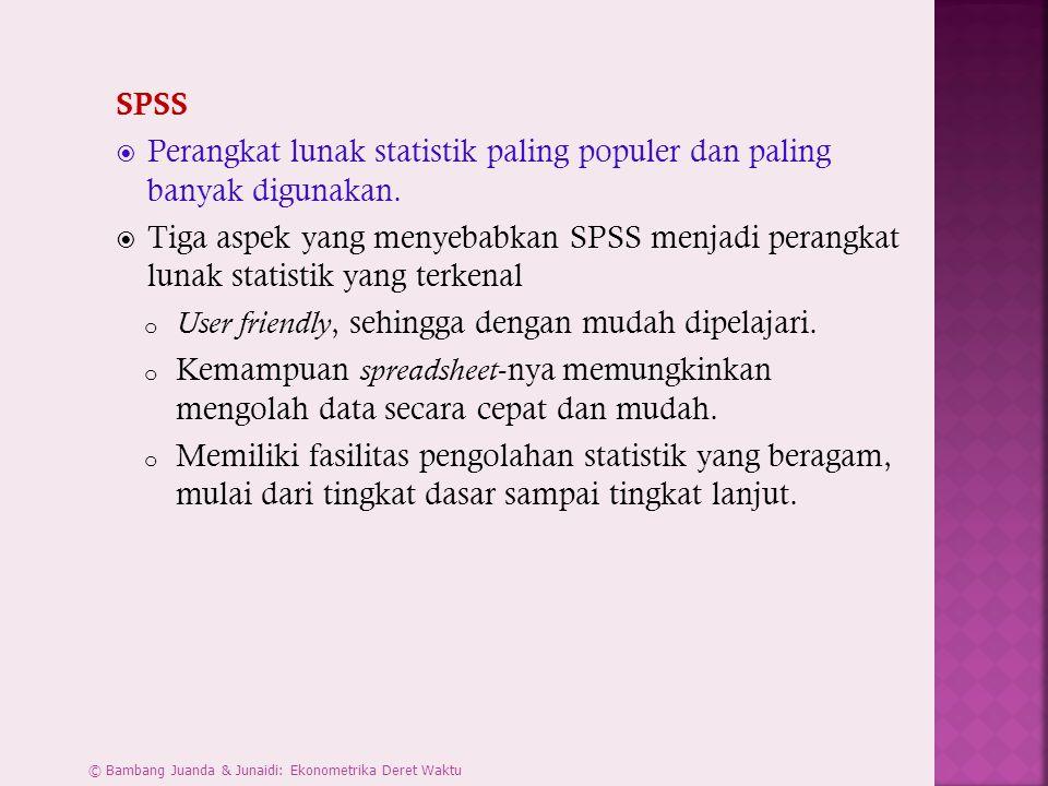 SPSS  Perangkat lunak statistik paling populer dan paling banyak digunakan.  Tiga aspek yang menyebabkan SPSS menjadi perangkat lunak statistik yang