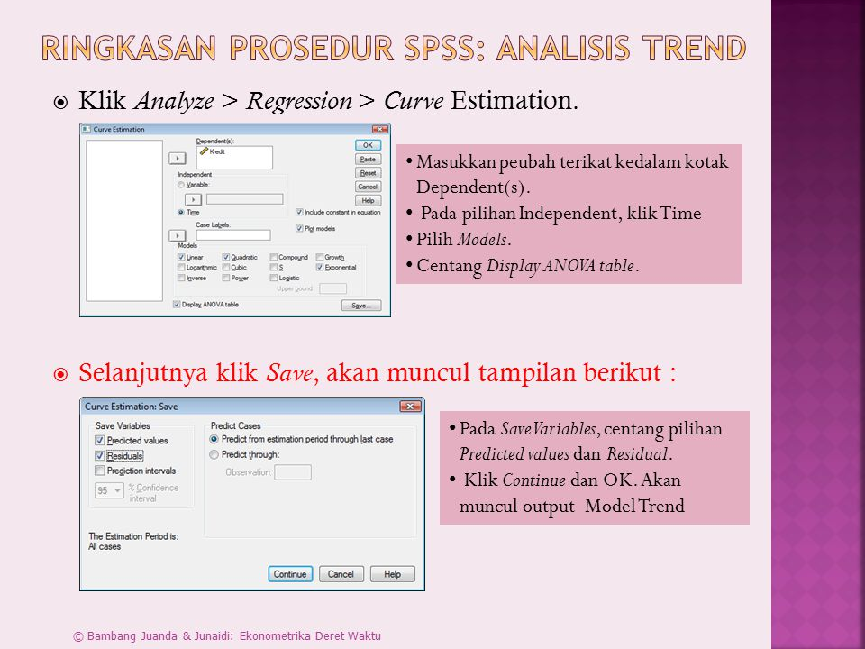  Klik Analyze > Regression > Curve Estimation.
