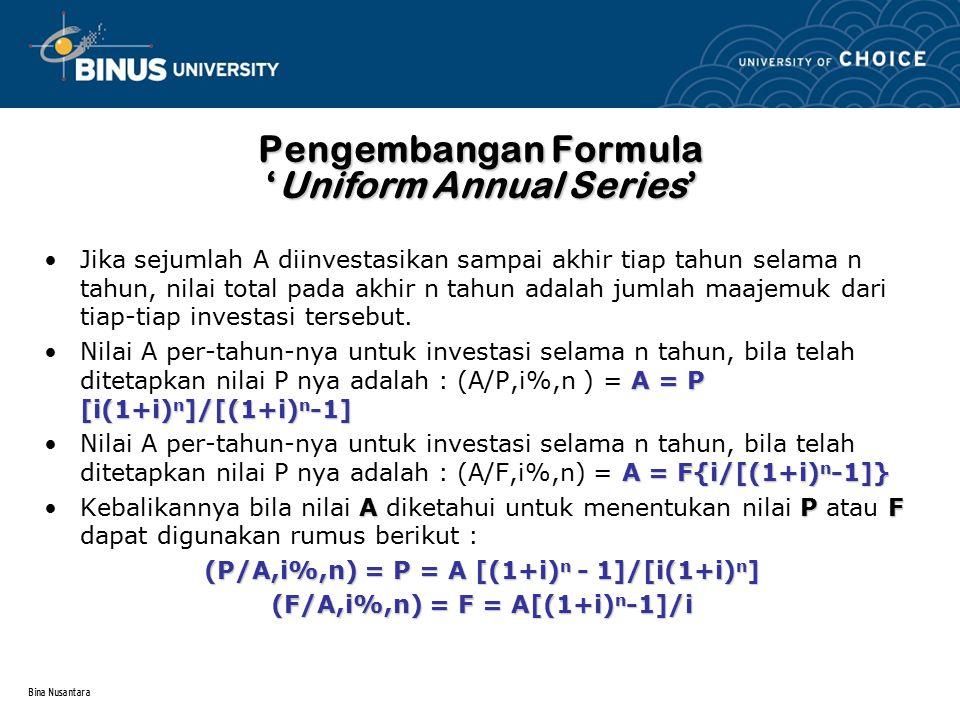 Bina Nusantara Pengembangan Formula 'Uniform Annual Series' Jika sejumlah A diinvestasikan sampai akhir tiap tahun selama n tahun, nilai total pada ak