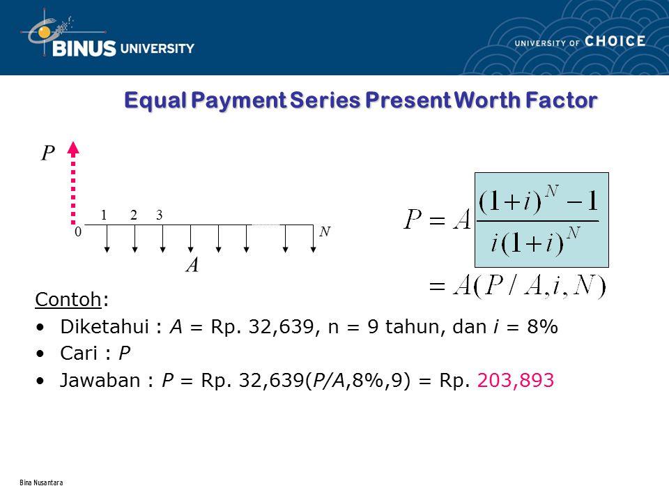 Bina Nusantara Equal Payment Series Present Worth Factor Contoh: Diketahui : A = Rp. 32,639, n = 9 tahun, dan i = 8% Cari : P Jawaban : P = Rp. 32,639