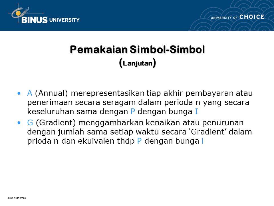 Bina Nusantara Pemakaian Simbol-Simbol ( Lanjutan ) A (Annual) merepresentasikan tiap akhir pembayaran atau penerimaan secara seragam dalam perioda n