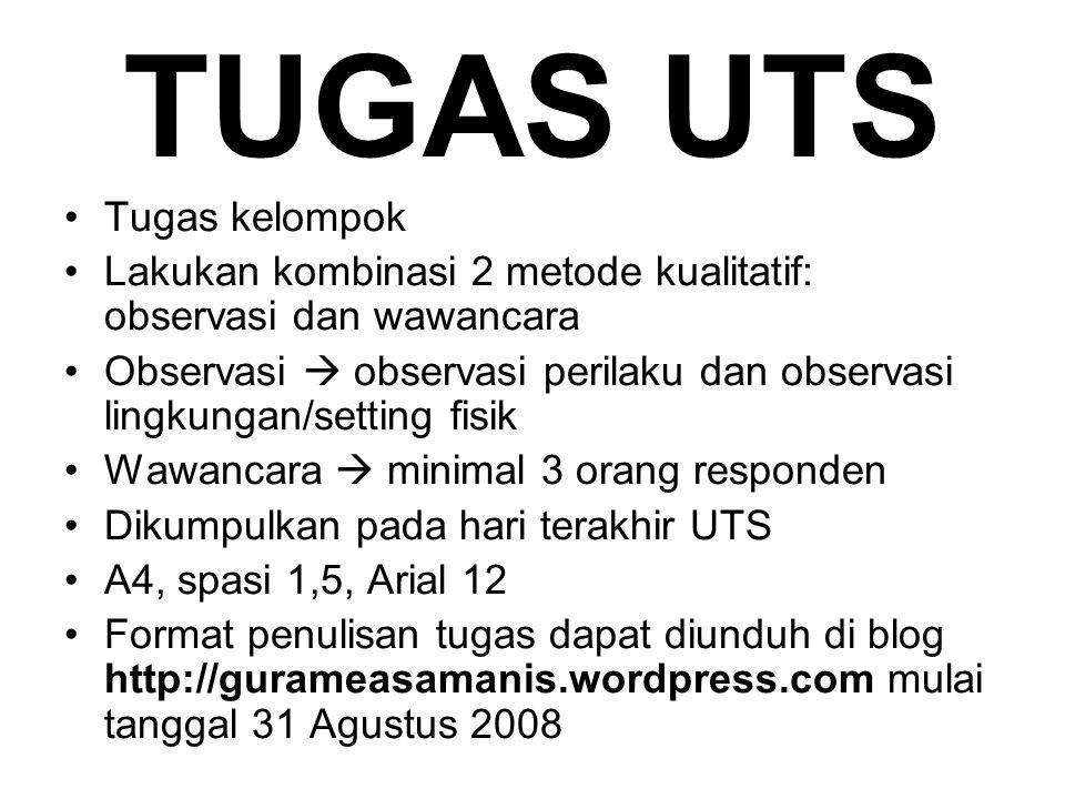 TUGAS UTS Tugas kelompok Lakukan kombinasi 2 metode kualitatif: observasi dan wawancara Observasi  observasi perilaku dan observasi lingkungan/settin