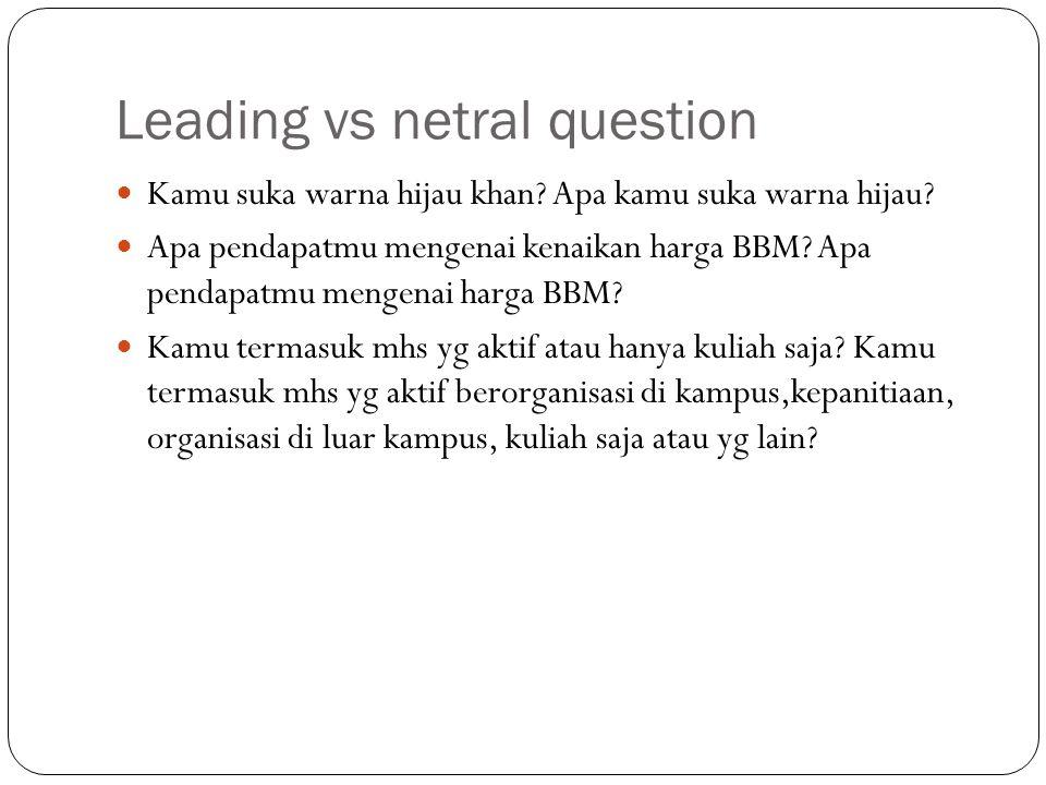 Leading vs netral question Kamu suka warna hijau khan? Apa kamu suka warna hijau? Apa pendapatmu mengenai kenaikan harga BBM? Apa pendapatmu mengenai
