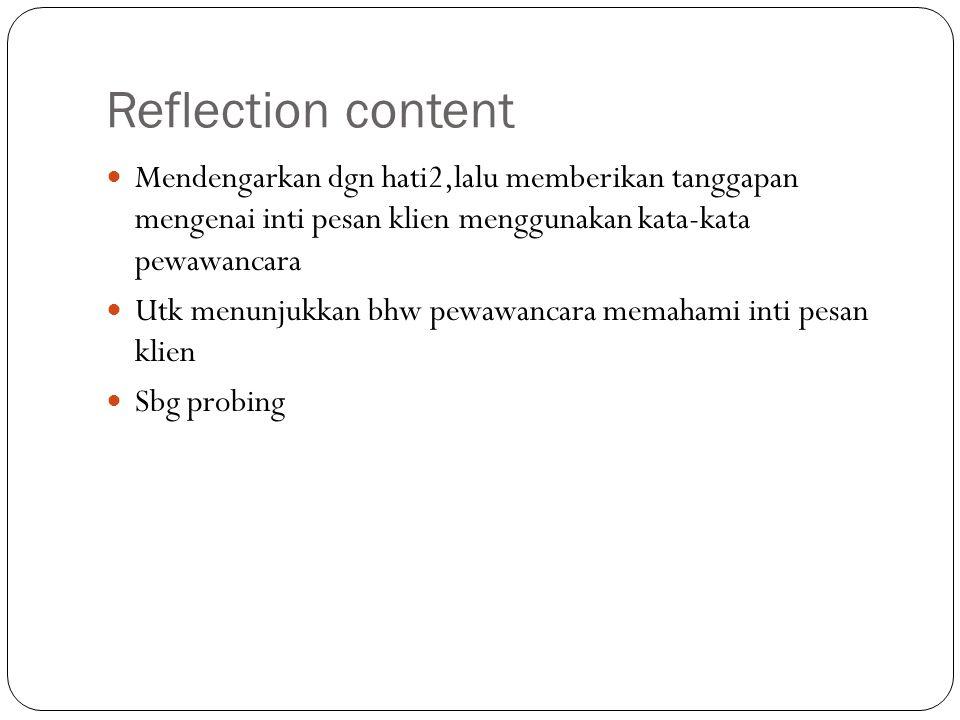 Reflection content Mendengarkan dgn hati2,lalu memberikan tanggapan mengenai inti pesan klien menggunakan kata-kata pewawancara Utk menunjukkan bhw pe