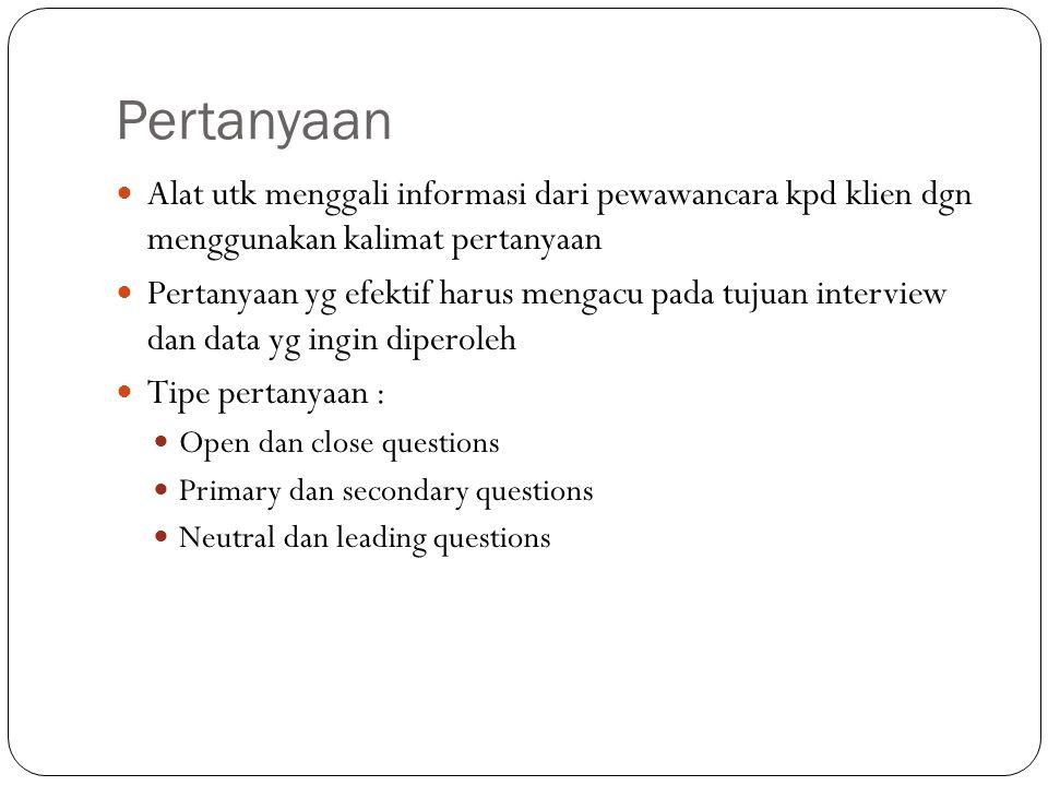 Pertanyaan Alat utk menggali informasi dari pewawancara kpd klien dgn menggunakan kalimat pertanyaan Pertanyaan yg efektif harus mengacu pada tujuan i