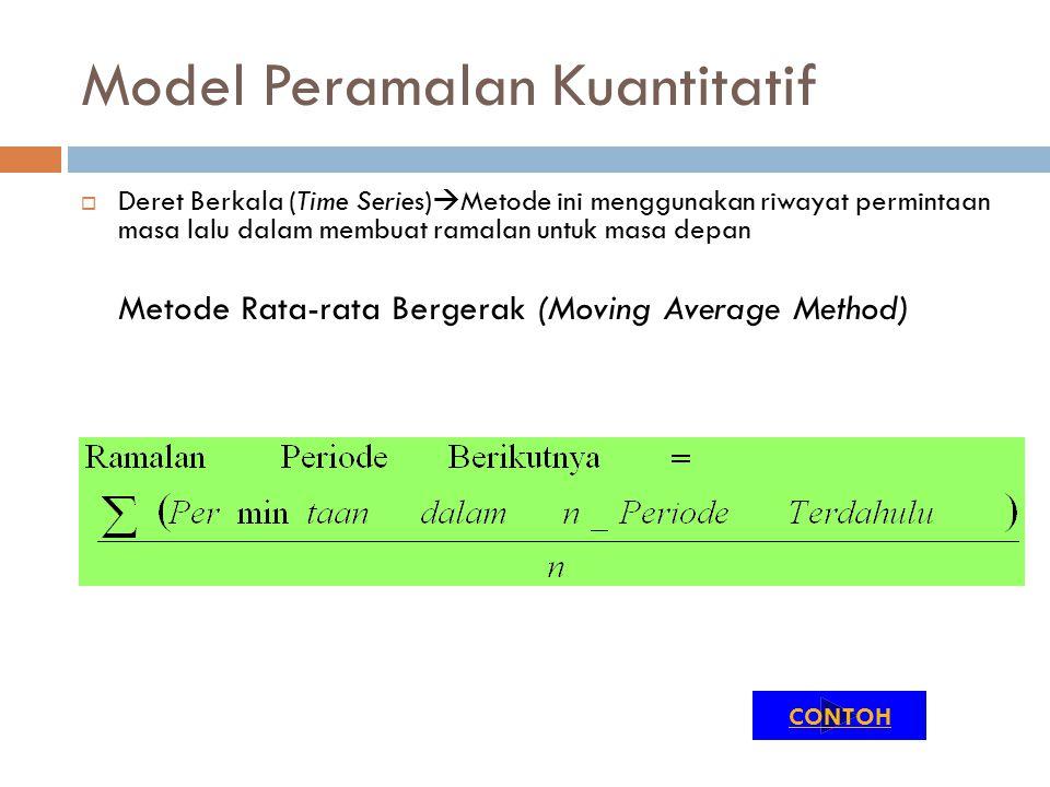 Model Peramalan Kuantitatif  Deret Berkala (Time Series)  Metode ini menggunakan riwayat permintaan masa lalu dalam membuat ramalan untuk masa depan