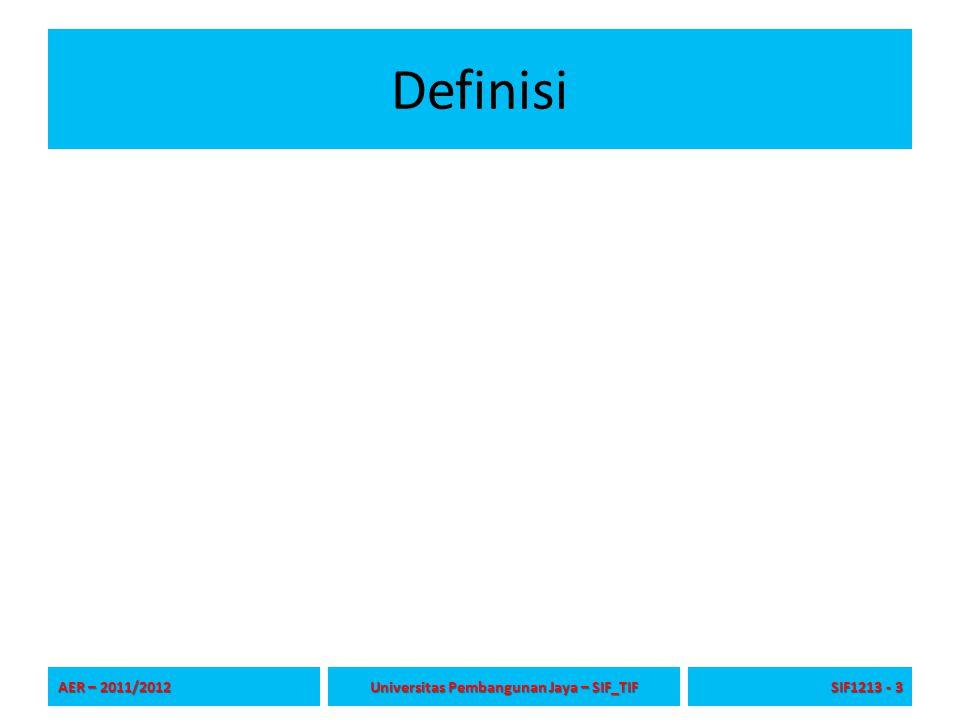 Definisi AER – 2011/2012 Universitas Pembangunan Jaya – SIF_TIF SIF1213 - 3