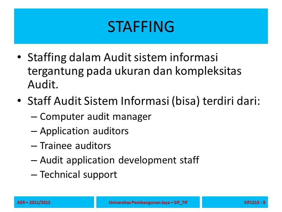 STAFFING Staffing dalam Audit sistem informasi tergantung pada ukuran dan kompleksitas Audit. Staff Audit Sistem Informasi (bisa) terdiri dari: – Comp