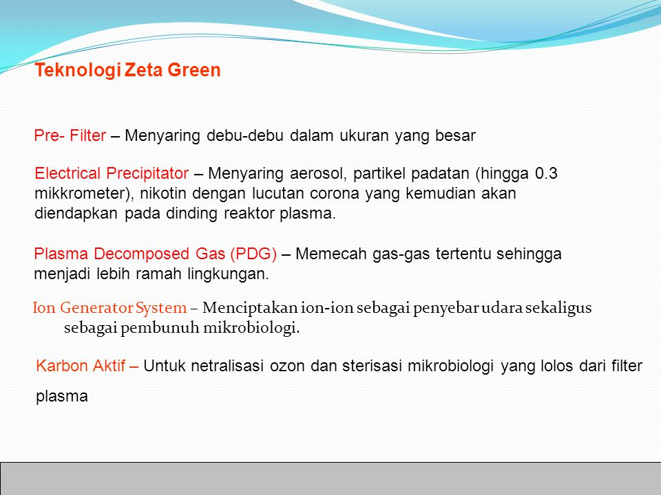 Teknologi Zeta Green Pre- Filter – Menyaring debu-debu dalam ukuran yang besar Electrical Precipitator – Menyaring aerosol, partikel padatan (hingga 0