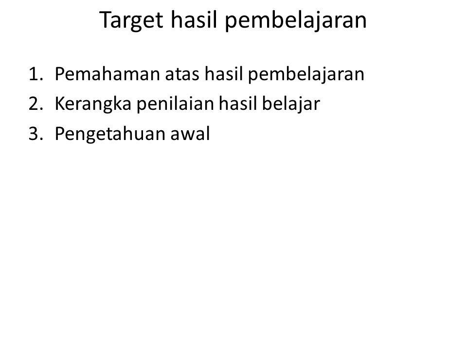 Target hasil pembelajaran 1.Pemahaman atas hasil pembelajaran 2.Kerangka penilaian hasil belajar 3.Pengetahuan awal