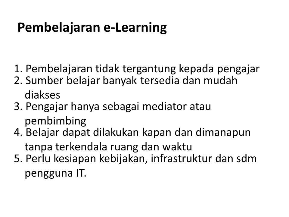 Pembelajaran e-Learning 1. Pembelajaran tidak tergantung kepada pengajar 2. Sumber belajar banyak tersedia dan mudah diakses 3. Pengajar hanya sebagai