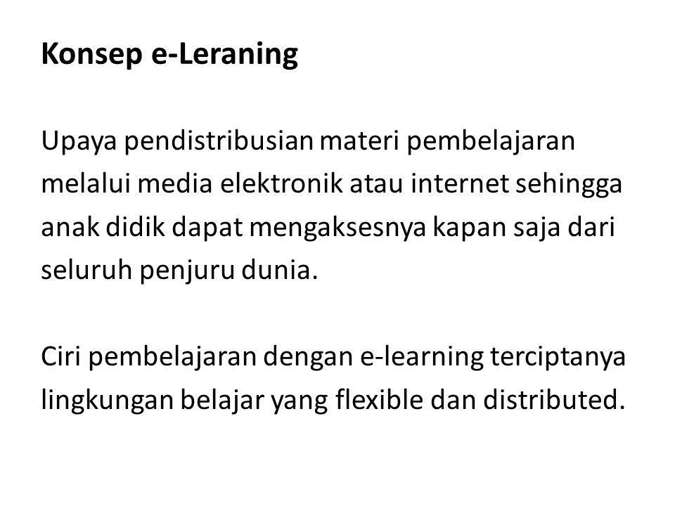 Konsep e-Leraning Upaya pendistribusian materi pembelajaran melalui media elektronik atau internet sehingga anak didik dapat mengaksesnya kapan saja d