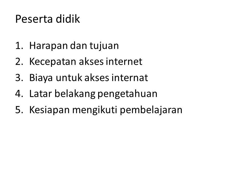 Peserta didik 1.Harapan dan tujuan 2.Kecepatan akses internet 3.Biaya untuk akses internat 4.Latar belakang pengetahuan 5.Kesiapan mengikuti pembelaja