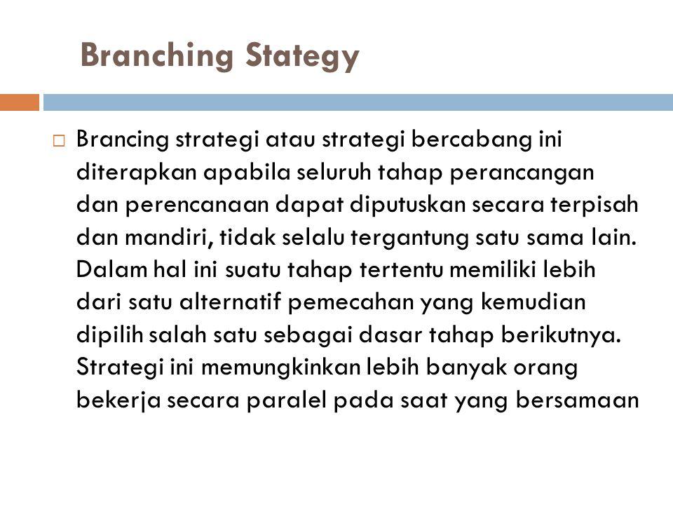 Branching Stategy  Brancing strategi atau strategi bercabang ini diterapkan apabila seluruh tahap perancangan dan perencanaan dapat diputuskan secara