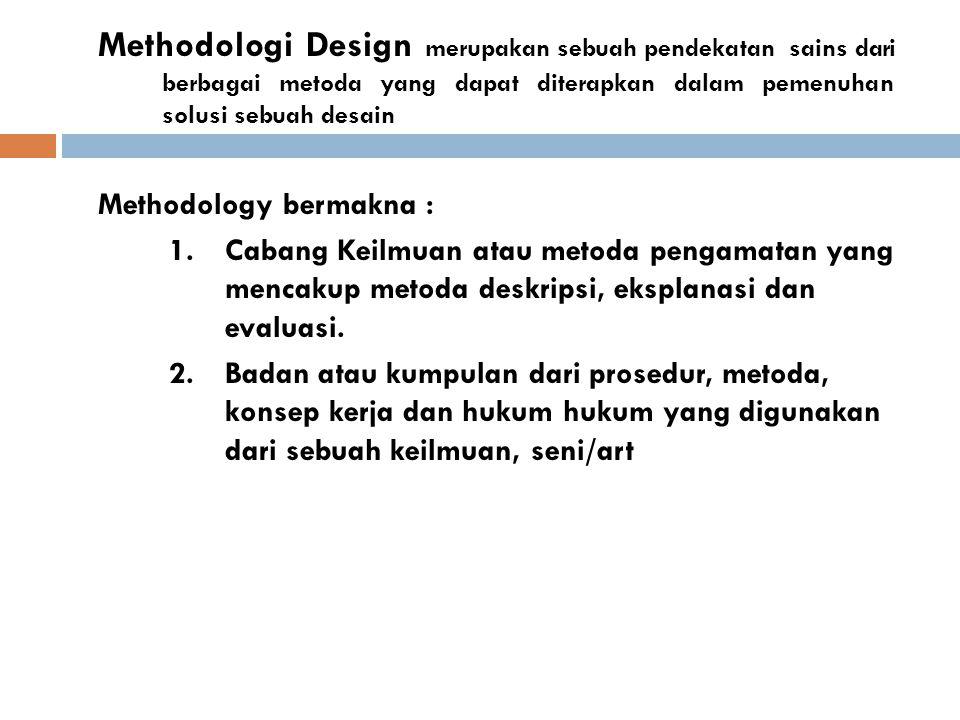 Methodologi Design merupakan sebuah pendekatan sains dari berbagai metoda yang dapat diterapkan dalam pemenuhan solusi sebuah desain Methodology berma