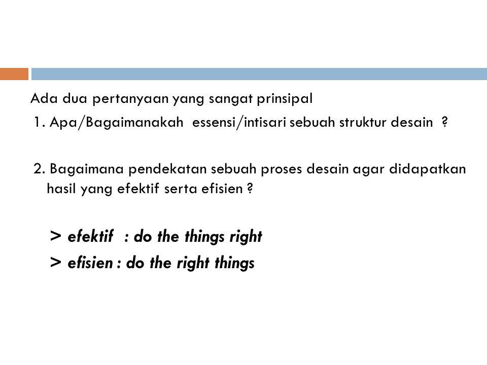 Ada dua pertanyaan yang sangat prinsipal 1. Apa/Bagaimanakah essensi/intisari sebuah struktur desain ? 2. Bagaimana pendekatan sebuah proses desain ag