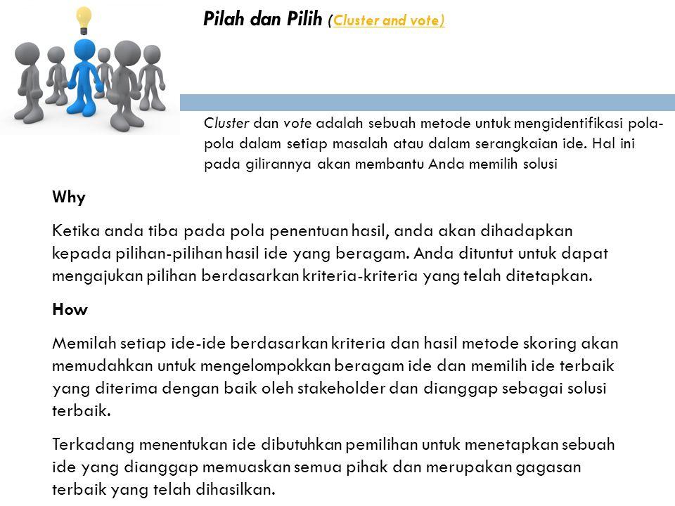 Pilah dan Pilih (Cluster and vote)Cluster and vote) Cluster dan vote adalah sebuah metode untuk mengidentifikasi pola- pola dalam setiap masalah atau