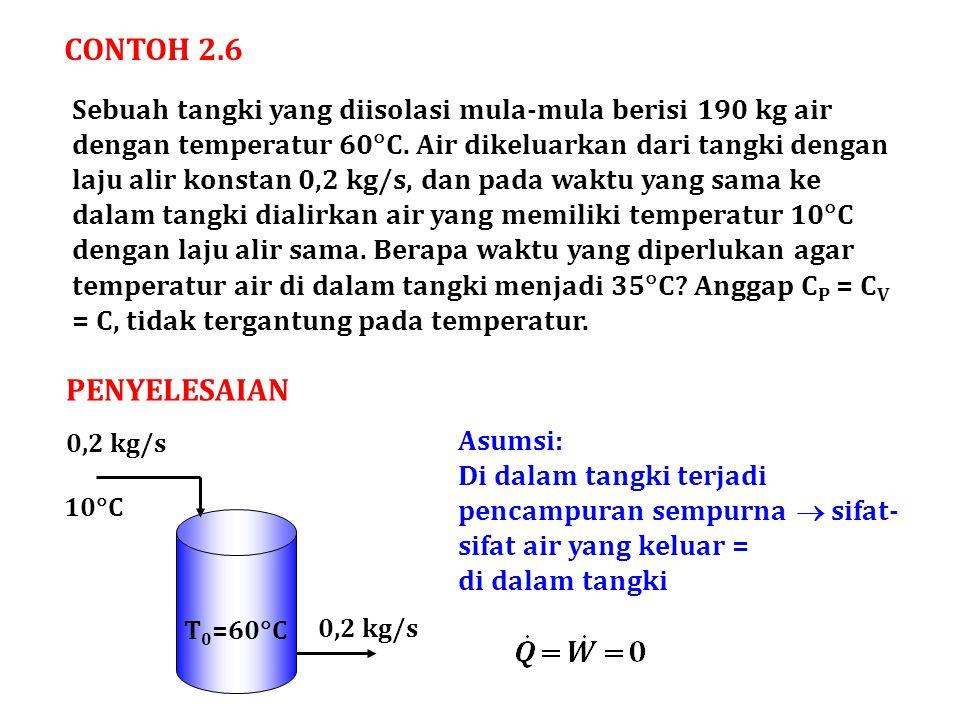 CONTOH 2.6 Sebuah tangki yang diisolasi mula-mula berisi 190 kg air dengan temperatur 60  C. Air dikeluarkan dari tangki dengan laju alir konstan 0,2