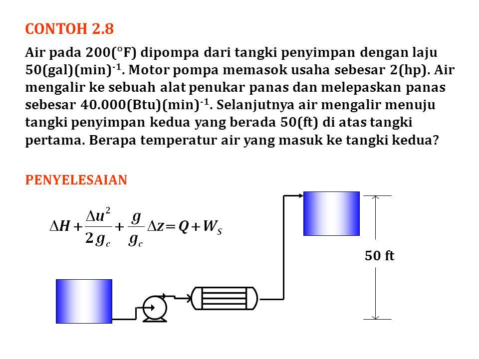 CONTOH 2.8 Air pada 200(  F) dipompa dari tangki penyimpan dengan laju 50(gal)(min) -1. Motor pompa memasok usaha sebesar 2(hp). Air mengalir ke sebu