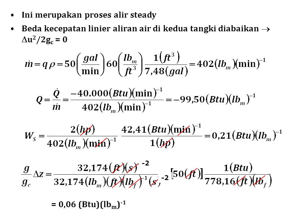 Ini merupakan proses alir steady Beda kecepatan linier aliran air di kedua tangki diabaikan   u 2 /2g c = 0 = 0,06 (Btu)(lb m ) -1 -2