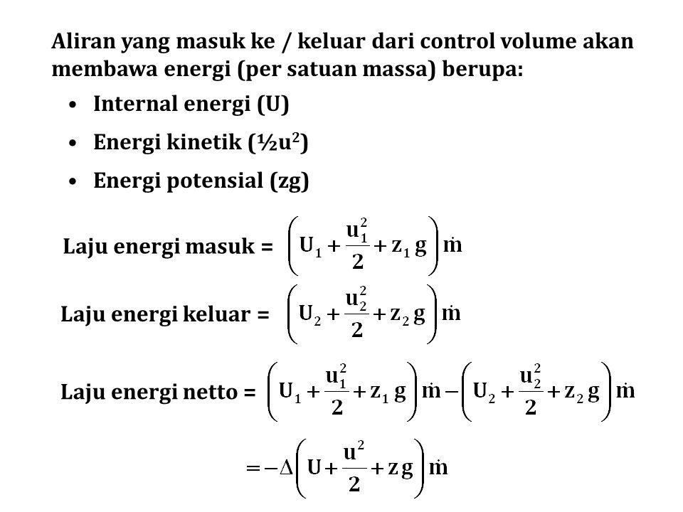 Aliran yang masuk ke / keluar dari control volume akan membawa energi (per satuan massa) berupa: Internal energi (U) Energi kinetik (½u 2 ) Energi pot