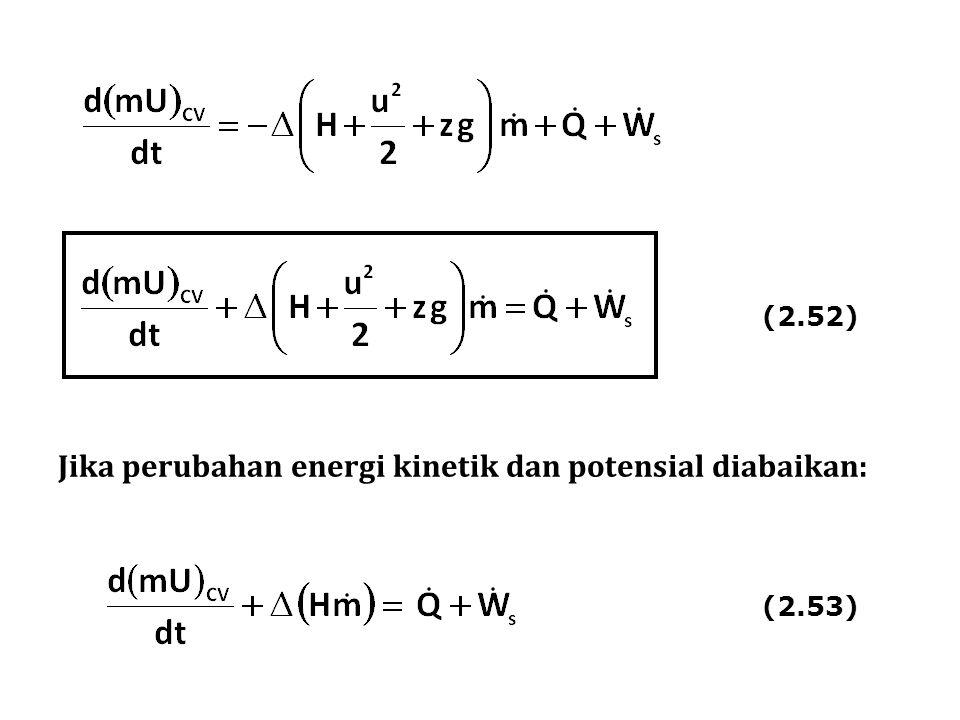 Jika perubahan energi kinetik dan potensial diabaikan: (2.52) (2.53)