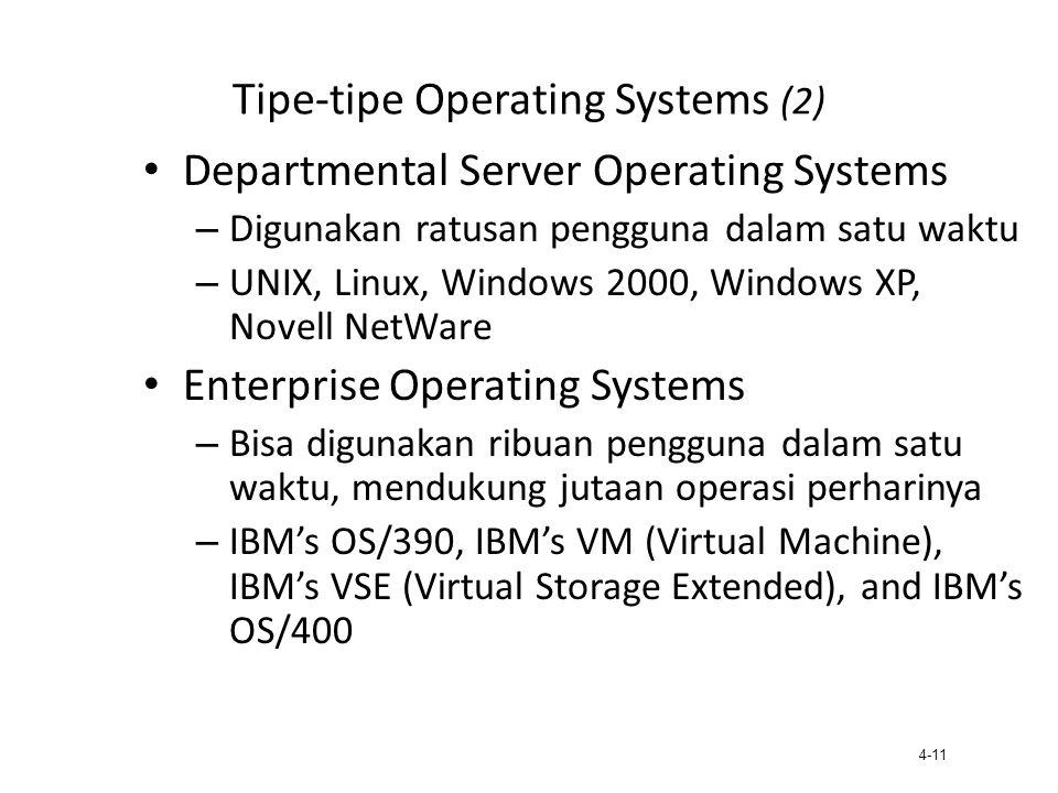 4-11 Tipe-tipe Operating Systems (2) Departmental Server Operating Systems – Digunakan ratusan pengguna dalam satu waktu – UNIX, Linux, Windows 2000,