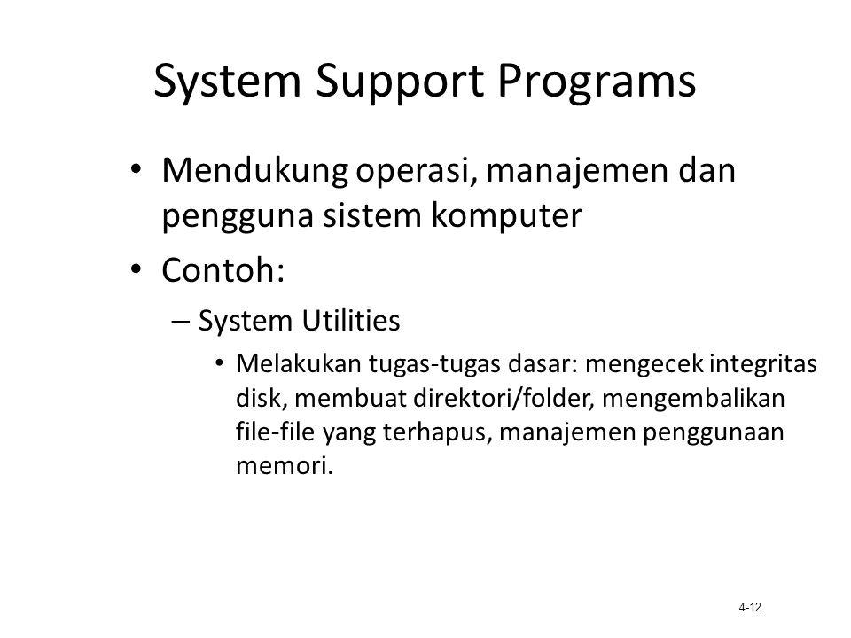 4-12 System Support Programs Mendukung operasi, manajemen dan pengguna sistem komputer Contoh: – System Utilities Melakukan tugas-tugas dasar: mengece