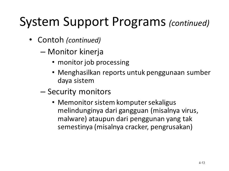 4-13 System Support Programs (continued) Contoh (continued) – Monitor kinerja monitor job processing Menghasilkan reports untuk penggunaan sumber daya
