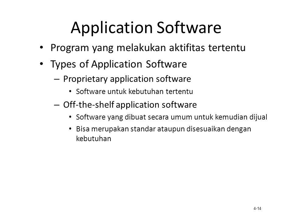 4-14 Application Software Program yang melakukan aktifitas tertentu Types of Application Software – Proprietary application software Software untuk ke