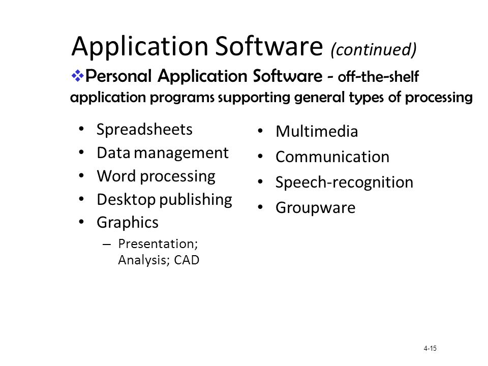 4-15 Application Software (continued) Spreadsheets Data management Word processing Desktop publishing Graphics – Presentation; Analysis; CAD Multimedi