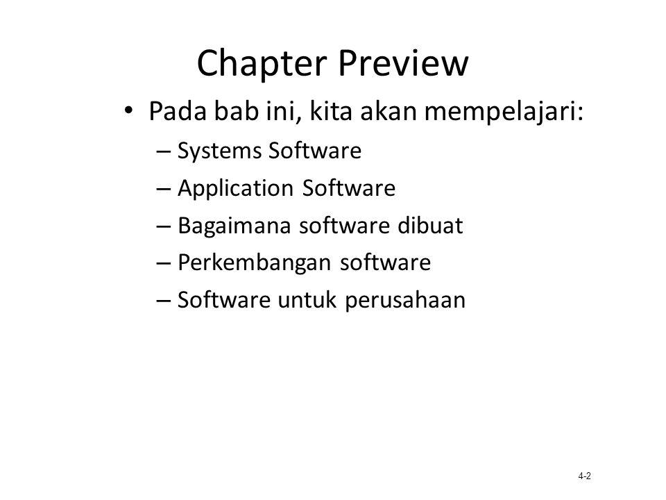 4-2 Chapter Preview Pada bab ini, kita akan mempelajari: – Systems Software – Application Software – Bagaimana software dibuat – Perkembangan software