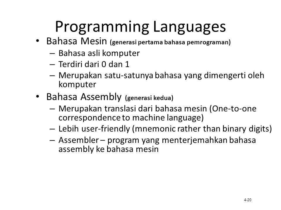 4-20 Programming Languages Bahasa Mesin (generasi pertama bahasa pemrograman) – Bahasa asli komputer – Terdiri dari 0 dan 1 – Merupakan satu-satunya b