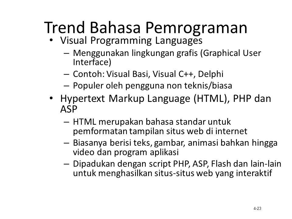 4-23 Trend Bahasa Pemrograman Visual Programming Languages – Menggunakan lingkungan grafis (Graphical User Interface) – Contoh: Visual Basi, Visual C+