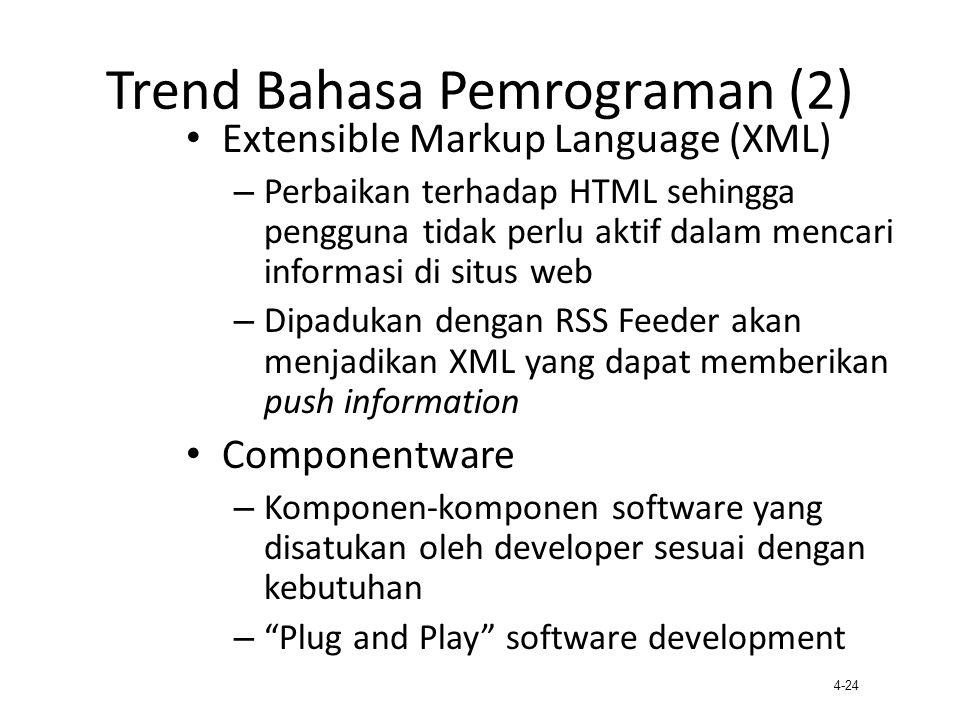 4-24 Trend Bahasa Pemrograman (2) Extensible Markup Language (XML) – Perbaikan terhadap HTML sehingga pengguna tidak perlu aktif dalam mencari informa