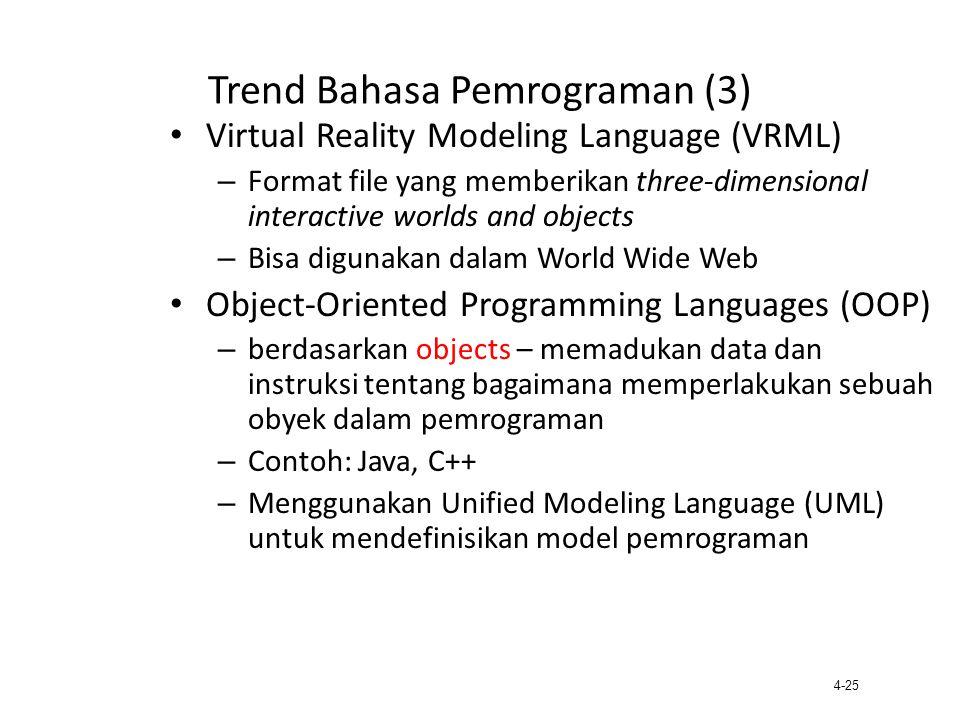4-25 Trend Bahasa Pemrograman (3) Virtual Reality Modeling Language (VRML) – Format file yang memberikan three-dimensional interactive worlds and obje
