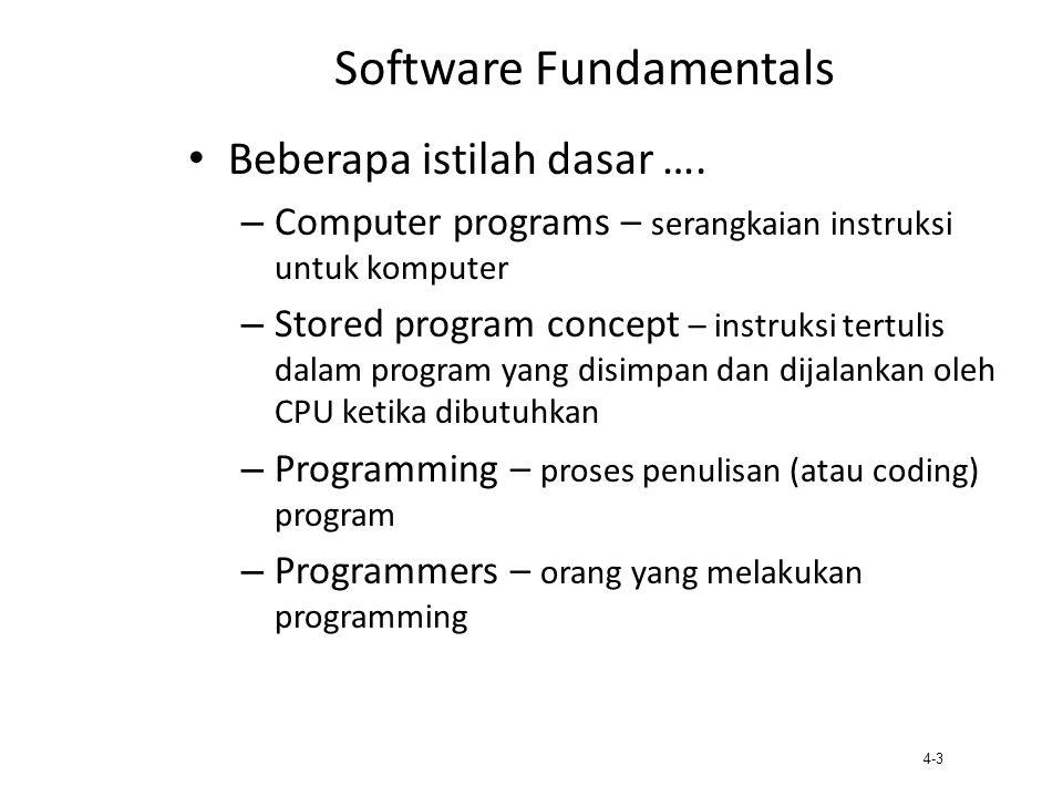 4-3 Software Fundamentals Beberapa istilah dasar …. – Computer programs – serangkaian instruksi untuk komputer – Stored program concept – instruksi te