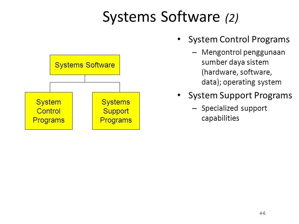 4-7 System Control Programs Operating System – kontrol utama sistem komputer – Mengawasi jalannya komputer secara keseluruhan – Mengalokasikan CPU time dan memori utama bagi program yang sedang dijalankan komputer – Memberikan tampilan antarmuka untuk pengguna terhadap hardware