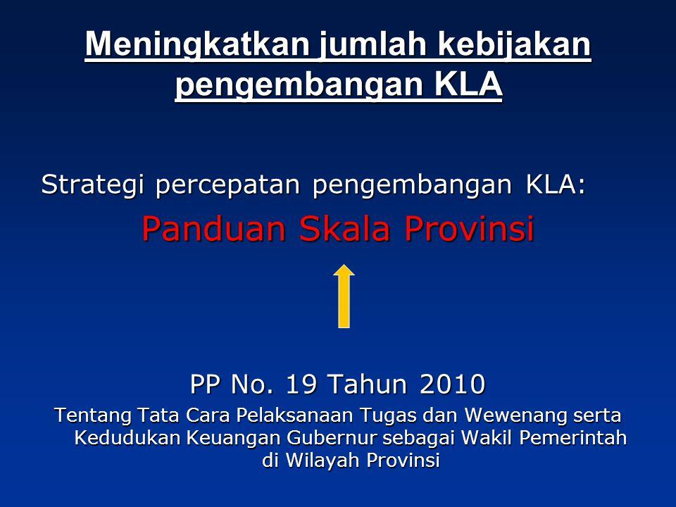 Meningkatkan jumlah kebijakan pengembangan KLA Strategi percepatan pengembangan KLA: Panduan Skala Provinsi PP No.