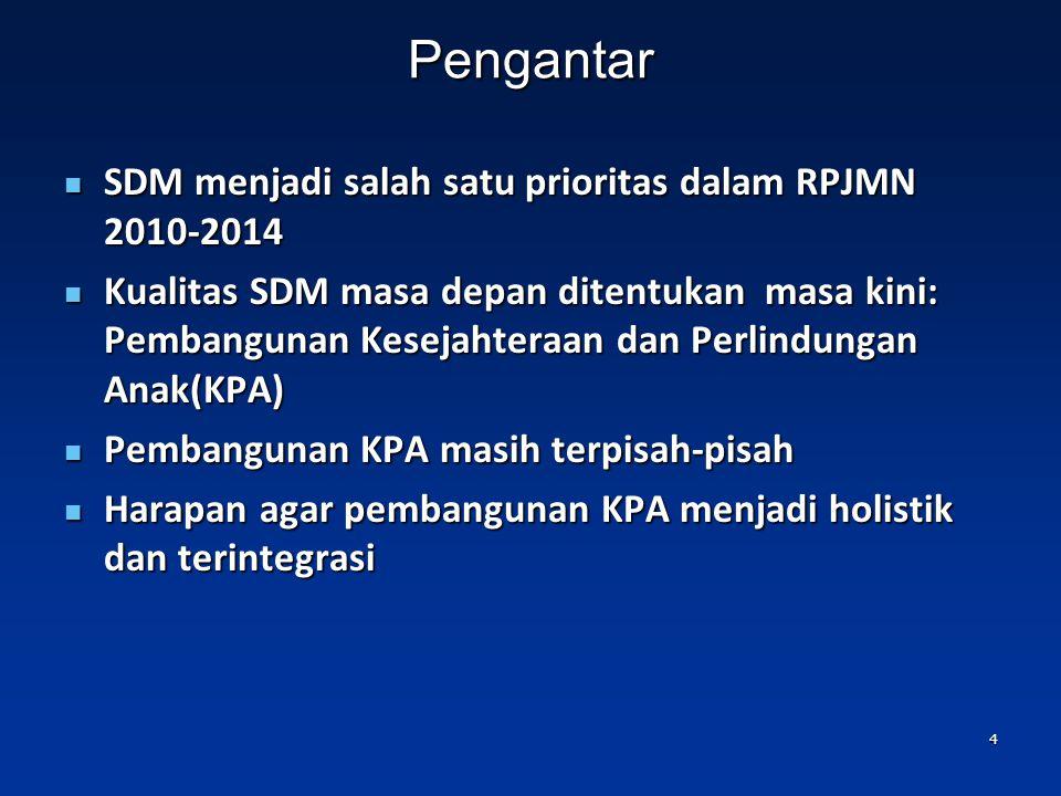Pengantar SDM menjadi salah satu prioritas dalam RPJMN 2010-2014 SDM menjadi salah satu prioritas dalam RPJMN 2010-2014 Kualitas SDM masa depan ditentukan masa kini: Pembangunan Kesejahteraan dan Perlindungan Anak(KPA) Kualitas SDM masa depan ditentukan masa kini: Pembangunan Kesejahteraan dan Perlindungan Anak(KPA) Pembangunan KPA masih terpisah-pisah Pembangunan KPA masih terpisah-pisah Harapan agar pembangunan KPA menjadi holistik dan terintegrasi Harapan agar pembangunan KPA menjadi holistik dan terintegrasi 4