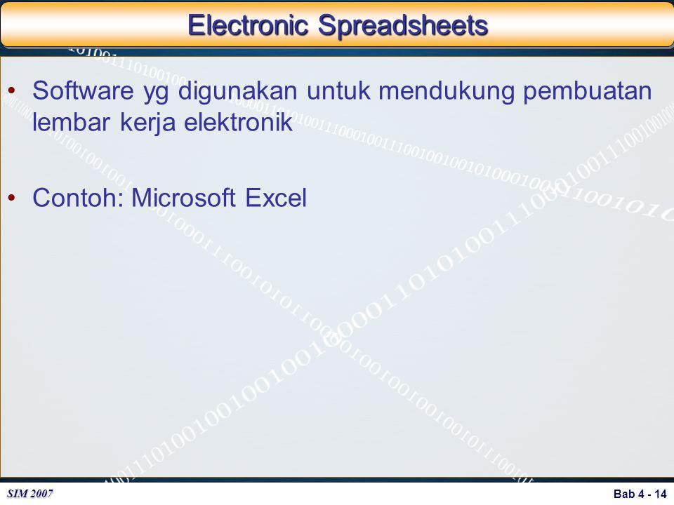 Bab 4 - 14 SIM 2007 Electronic Spreadsheets Software yg digunakan untuk mendukung pembuatan lembar kerja elektronik Contoh: Microsoft Excel