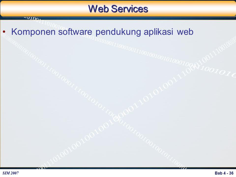 Bab 4 - 36 SIM 2007 Web Services Komponen software pendukung aplikasi web