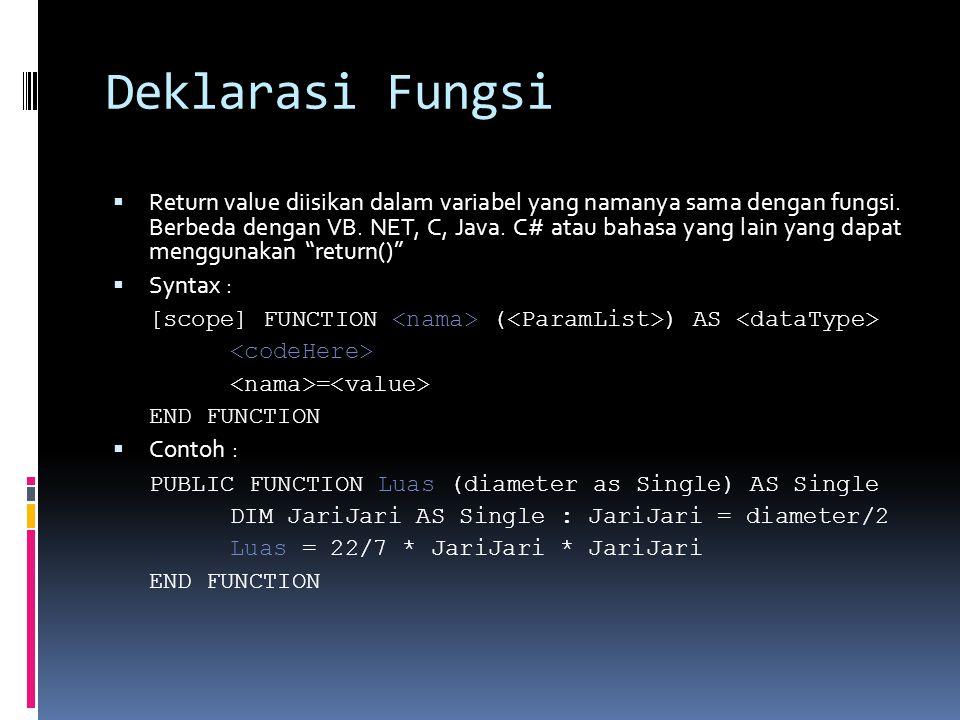 Deklarasi Fungsi  Return value diisikan dalam variabel yang namanya sama dengan fungsi. Berbeda dengan VB. NET, C, Java. C# atau bahasa yang lain yan